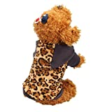 HP95(TM) Small-Size Dog Customes, Pet Puppy Dog Cat Warm Hoodie Sweater Apparel Coat (M (Length:10.6″), Leopard) For Sale