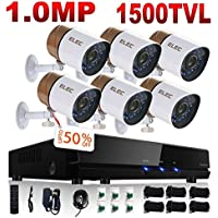 ELEC 8CH Channel HDMI DVR CCTV Home Video Security System + 6 Outdoor 1500TVL Security Camera 1.0MP Sensor, Remote Access Home Surveillance Kit