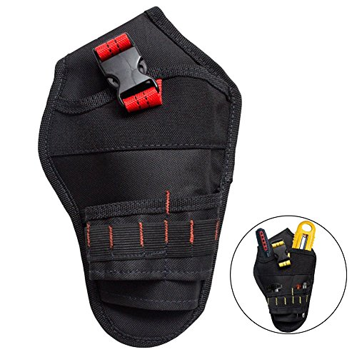 Katie Heavy Duty Multipurpose Cordless Drill Holster Tool Belt Pouch Holder For Electricians Carpenters (Black & Red) by Katie
