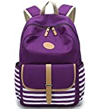FLYMEI Canvas Backpack School Backpack College Bookbag Lightweight Laptop Bag Travel Daypack For Teen Girls Women - Purple