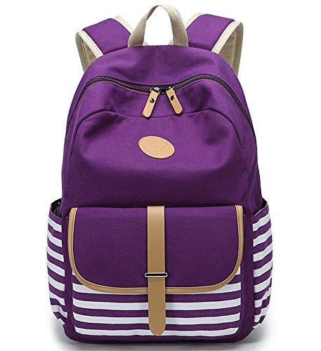 FLYMEI Canvas Backpack School Backpack College Bookbag Lightweight Laptop Bag Travel Daypack For Teen Girls Women - Purple
