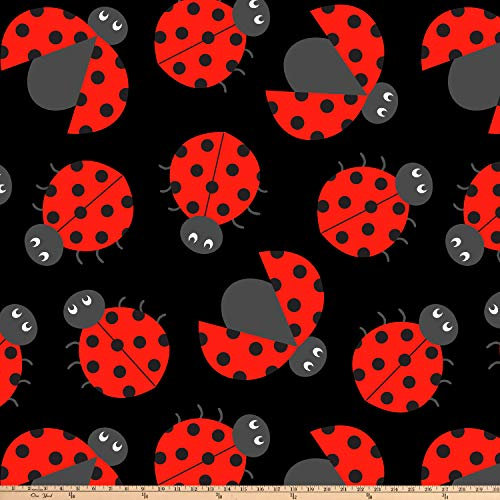 David Textiles Ladybug Crowd Double Brushed Fleece Black Fabric by The Yard ()