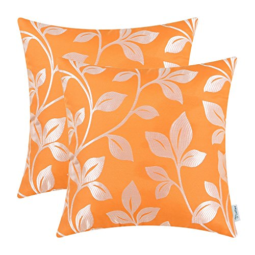 CaliTime Pack of 2 Soft Throw Pillow Covers Cases for Couch Sofa Home Decoration Cute Growing Leaves 18 X 18 inches Bright Orange/White