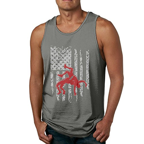Newfood Ss Wrestling American Flag Men's 100% Cotton Tank Top T-Shirt 3X DeepHeather