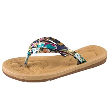 12e4cf8c1b7cc5 Women Silk Print Flip Flop Flat Thong Sandals Bohemia Vintage ...