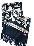 India Handmade Embroidery - Premium Soft Pashmina - Black w/ Light Brown Flora - 80'' X 23'' Wraps / Scarf / Shawl / Tablecloth / Home Decoration