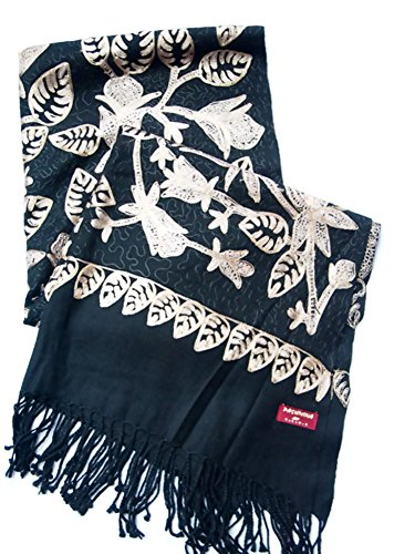 India Handmade Embroidery - Premium Soft Pashmina - Black w/ Light Brown Flora - 80'' X 23'' Wraps / Scarf / Shawl / Tablecloth / Home Decoration by SukSomboonShop