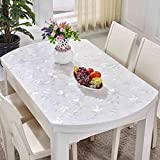 Oval Tablecloth Waterproof Anti-hot Anti-oil Transparent Matte Pvc Soft Glass Table Mat Telescopic Folding ( Color : A , Size : 86138cm )