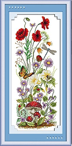 CaptainCrafts New Cross Stitch Kits Patterns Embroidery Kit - Welcome The Spring, Butterfly Flowers Dragonfly (STAMPED) - House Cross Stitch Sampler