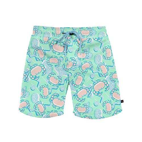 07f1280963e90 durable service Men's Crab Print Swimming Trunks - Short Fitted Neon Swim  Trunks