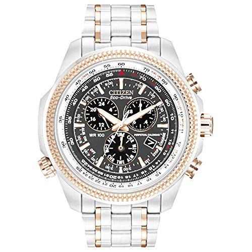Citizen Men's Eco-Drive Chronograph Two-Tone Stainless Steel Bracelet Black Dial Analog Watch