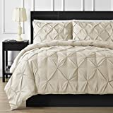Double Needle Durable Stitching Comfy Bedding 3-piece Pinch Pleat Comforter Set All Season Pintuck Style (King, Beige)