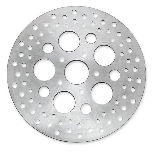 Bikers Choice Drilled Front or Rear Stainless Rotors for Harley Davidson 1973-1 - One Size (Rotor 10 Front Inch)
