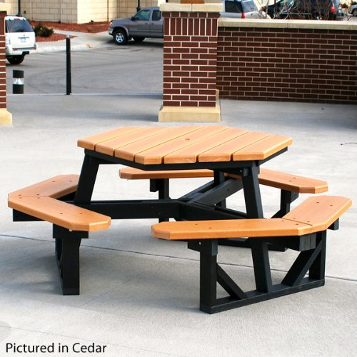 - Jayhawk Plastics Hex Recycled Plastic Commercial Picnic Table