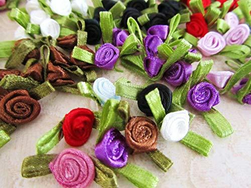80 Satin Ribbon Rose Rosebud Flower Leaves Applique/Dress Trim/Craft/8 Color ()