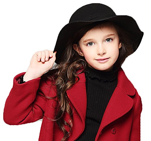 Kids Girl's Vintage Dome Wool Felt Bowler Cap Floppy Hat Bow,Black