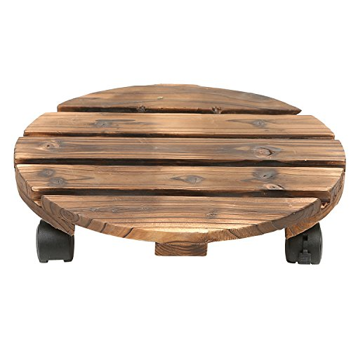 13 Inch Torched Wood Planter Rolling Caddy with Rotating Casters, Flower Pots Stand by MyGift