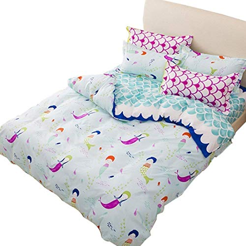 LemonTree Mermaid Bedding Set - Girls Soft Duvet Cover - Blue Wave Small Mermaid Pattern,Hypoallergenic,Microfiber,1 Duvet Cover+2 Pillowcases NOT COMFORTER JUST COVER (Full/Queen, # 01)
