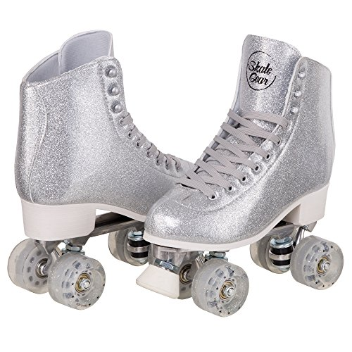 Cal 7 Sparkly Roller Skates for Indoor & Outdoor Skating, Faux Leather Quad Skate with Ankle Support & 83A PU Wheels for Kids & Adults (Silver, Men's 8/ Women's 9) ()