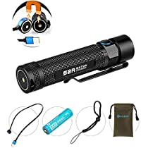 Olight® S2R Baton Cree XM-L2 LED 1020 Lumens Rechargeable Flashlight with 1 Customized 3200mAh 3.6V 18650 Battery Mini Magnetic Charging Dock Pocket Torch for EDC Camping Hiking, Updated Version of S2