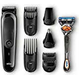 Philips Ultimate Epilator Set - Braun 7-Piece Head and Face Trimming Grooming Kit with Free Gillette Razor