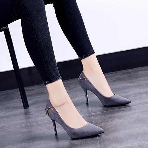 De Zapatos Mujer Negra Taladro Femeninos De Con Y Otoño De GAOLIM Alto Verano Solo Punta Zapatos Fina Gris Tacón Zapatos De HwCxqBT