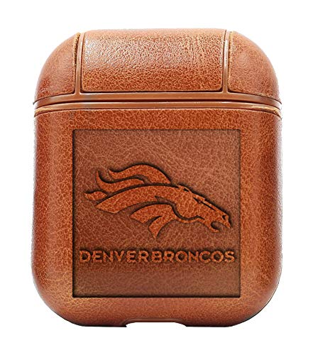 Logo Denver Broncos 1 (Vintage Brown) Air Pods Protective Leather Case Cover - a New Class of Luxury to Your AirPods - Premium PU Leather and Handmade exquisitely by Master Craftsmen