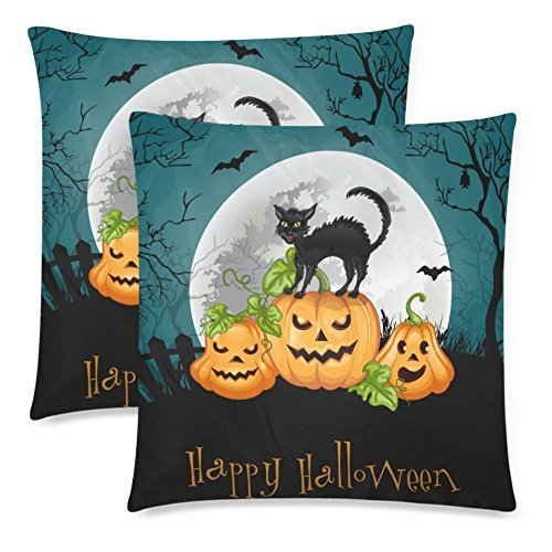 InterestPrint 2 Pack Halloween Decor Party with Pumpkin and Cat Throw Cushion Pillow Cover 18x18 Twin Sides, Halloween Gift Zippered Pillow Case Pillowcase Set Shams -
