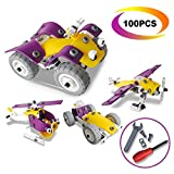 4 in 1 Building Toys Set - CARLORBO Assembled Puzzle Toys Model Cars Aircraft Motorcycle - Gift Idea Kids Toys for 5 year old Boys Girls(100PCS)