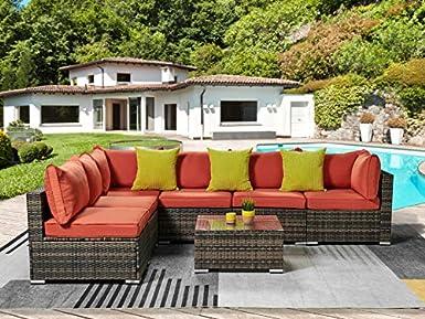 Amazon.com: Juego de muebles de exterior de 7 piezas, de ...