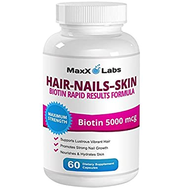 Hair Skin and Nails Vitamins - Biotin 5000 mcg Potent Formula - Best Biotin for Hair Growth - It Works Nourishing Your Skin & Growing Strong Nails & Healthy Sexy Hair - 60 Capsules - Gluten Free
