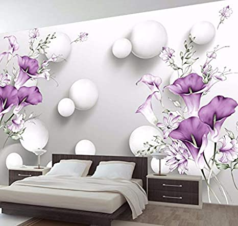 Vandelkt Wallpaper 3D Circle Ball Viola Calla Fiori Murales ...