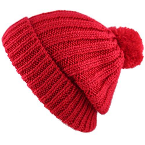 THE HAT DEPOT Winter Unisex Soft Warm Beanie Sherpa Lined Pom Pom Beanie Skully Hat (Red)