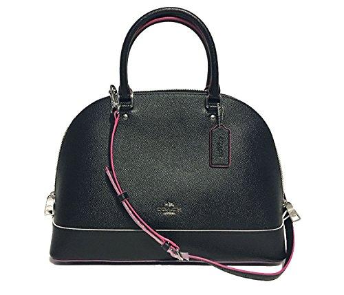 Coach Cross Grain Leather Sierra Satchel Crossbody Bag Purse Handbag (SV/Black ()