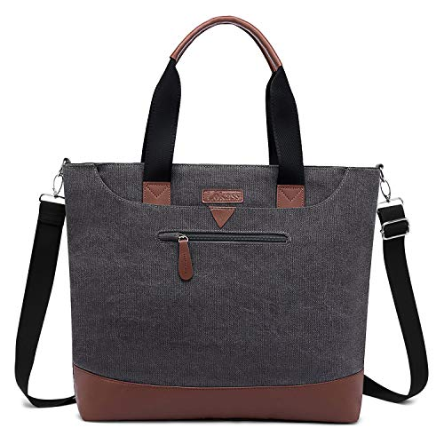 Ladies Laptop Tote Bag Large Womens Business Laptop Shoulder Bag Work Tote Purse Office Messenger Briefcase Travel Shopping Handbag w/Strap Fits Up to 15.6 Inch Laptop Computer, Canvas Gray
