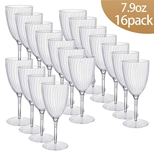 HyHousing 7.9 Oz Clear Plastic Wine Glasses 16 Pack, Hard Disposable Plastic Champagne Flute Ideal for Party Wedding Toasting Drinking Wine (WG1-16)