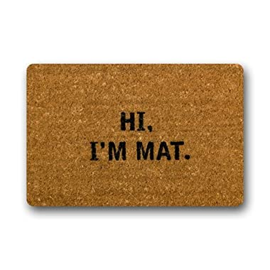 NINNAYUAN Hi I'm Mat_ lovely outdoor/indoor doormat(23.6x15.7 inch) (brown)