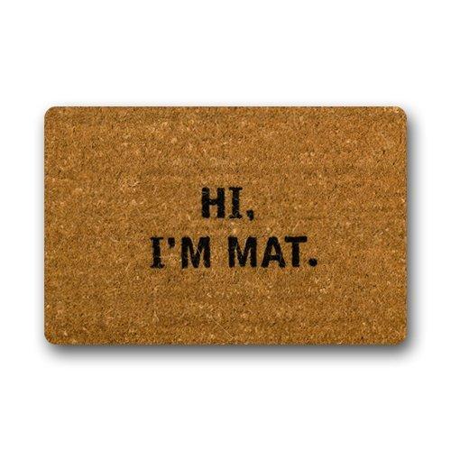 WYABALL Hi I'm Mat Custom Doormat (23.6x15.7 inch) Indoor Outdoor