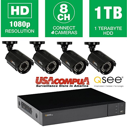 (Q-See 8 Channel 4 Camera 1080p Security System QTH84-4DF with 1TB HDD DVR)