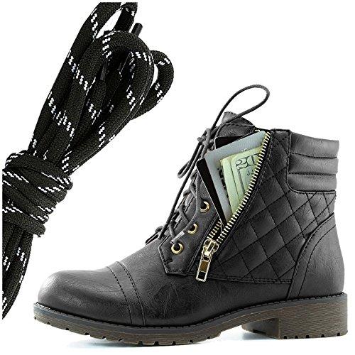 Dailyshoes Womens Militaire Lace Up Boucle Bottes De Combat Cheville Haute Carte De Crédit Exclusive Poche, Noir Blanc Noir Pu
