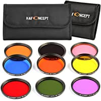 58mm Filter, K&F Concept 58mm 9pcs Round Full Color Filter Set Professional Color Filter Kit Lens Accessory Lens Filter Kit for Canon T5i T6 T3 DSLR Cameras + Filter Pouch