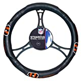 15 X 15 Inches NFL Bengals Steering Wheel Cover, Football Themed Three Sides Team Logo Name Rubber Grip Sports Patterned, Team Logo Fan Merchandise Athletic Team Spirit, Orange Black White, Pvc