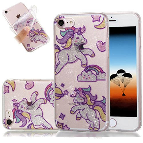 iPhone 7 Plus Funda, iPhone 8 Plus TPU Case Cover, NEWSTARS Lujo Bling Bling Glamour Brillante Glitter Flamenco Unicornio Mariposa Flor Diseño Funda Carcasa Ultra Delgado Resistente a los Arañazos Sof B Glitter TPU 2