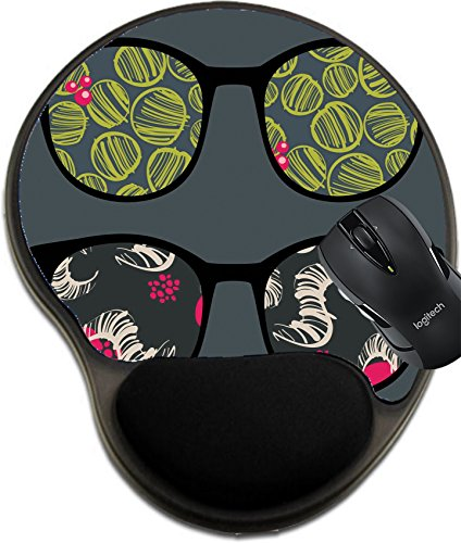 166 Sunglasses (MSD Natural Rubber Mousepad wrist protected Mouse Pads/Mat with wrist support design: 13285323 Retro sunglasses with interesting reflection in it)