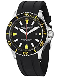 Stuhrling Original Men's 706.04 Aquadiver Regatta Diver Sport II Swiss Quartz Date Yellow Accent Rubber Strap Watch