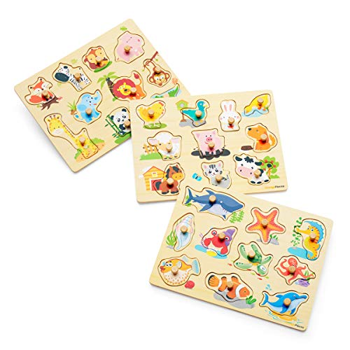 Orange Pieces Puzzles Toddler Learning Toys - Wooden Pegged Puzzles for Toddlers 3 Years 3 Puzzle Set for Kids Farm Animals, Jungle Animal, Sea Creatures Toy Perfect peg Board for Children Learning