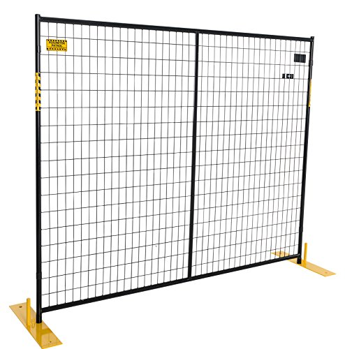 Event Fence (Crowd Control Temporary Fence Panel Kit - Perimeter Patrol Portable Security Fence - Safety Barrier for protecting property, construction sites, outdoor events. 7.5'W x 6'H)