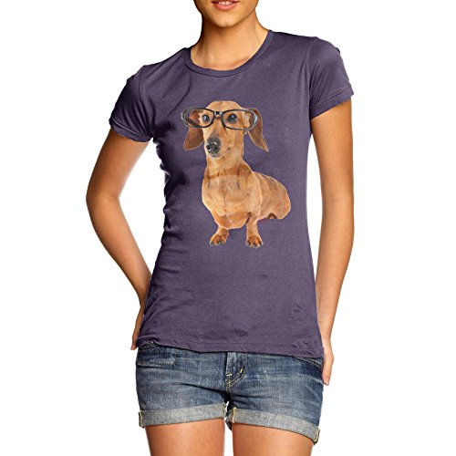 Twisted Envy Women's Doxie Dachshund Hipster Dog Organic Cotton Plum T-Shirt Small