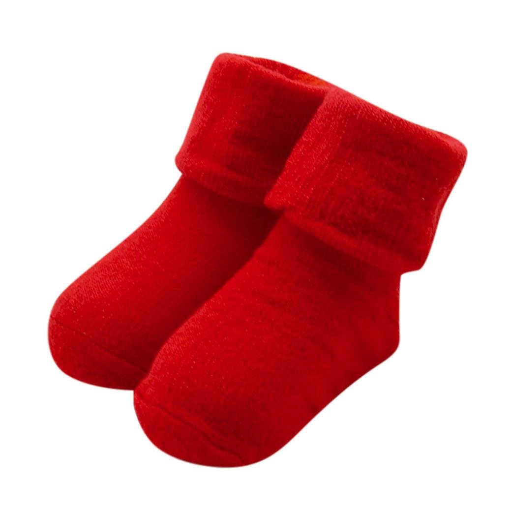 Baby Infant Solid Cute Cotton Socks Warm Ankle Socks for Baby 0-12Months (Red)