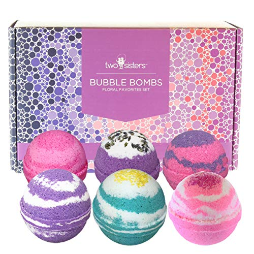 - 6 Floral Bubble Bath Bombs Gift Set for Women by Two Sisters Spa. 99% Natural XL Large USA Made Lush Spa Fizzies. Handmade Gift Idea for Her, Wife, Girlfriend. Releases Colors, Scents, and Bubbles.